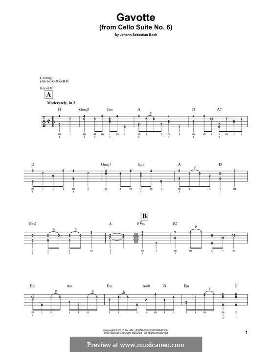 Suite for Cello No.6 in D Major, BWV 1012: Gavotte I. Version for banjo by Johann Sebastian Bach