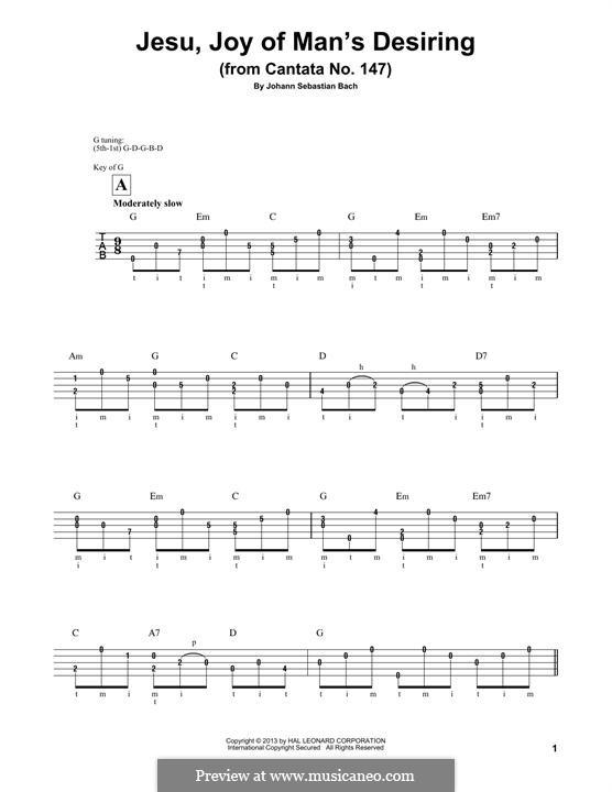 Jesu, Joy of Man's Desiring (Printable Scores): For banjo by Johann Sebastian Bach