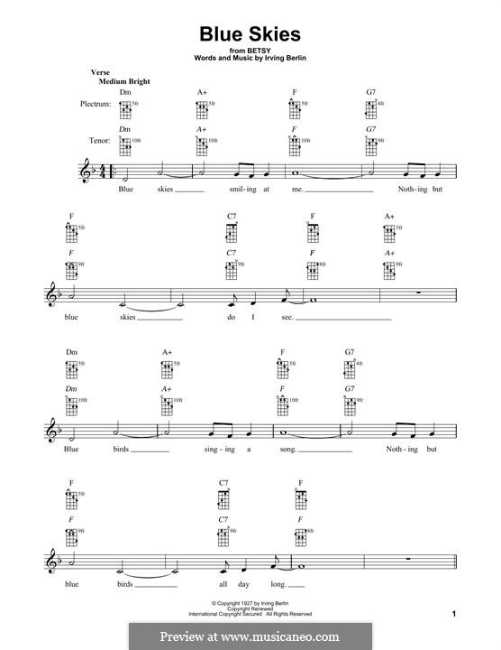 Blue Skies: For banjo by Irving Berlin