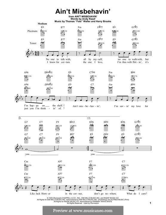 Ain't Misbehavin': For banjo by Fats Waller, Harry Brooks