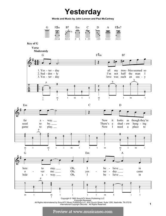 Yesterday (The Beatles): For banjo by John Lennon, Paul McCartney