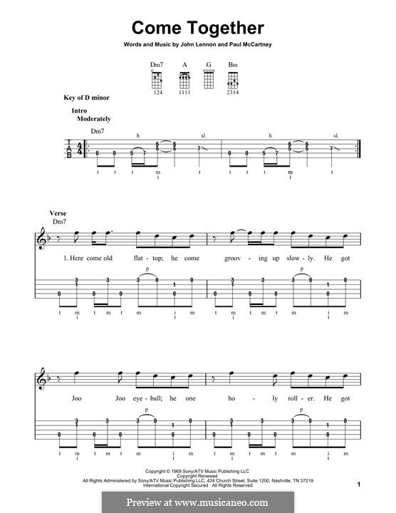 Come Together (The Beatles): For banjo by John Lennon, Paul McCartney