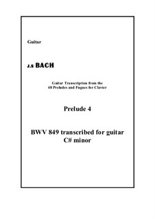 Prelude and Fugue No.4 in C Sharp Minor, BWV 849: Prelude, for guitar by Johann Sebastian Bach