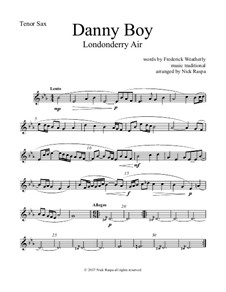 Danny Boy (Londonderry Air): For saxophone quintet - tenor sax part by folklore