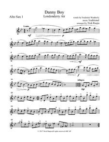 Danny Boy (Londonderry Air): For saxophone quintet - alto sax 1 part by folklore
