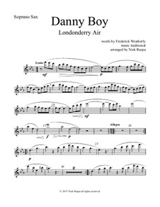 Danny Boy (Londonderry Air): For saxophone quintet - soprano sax part by folklore