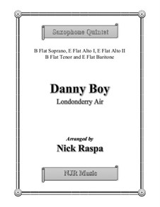 Danny Boy (Londonderry Air): For saxophone quintet - full score and set of parts by folklore