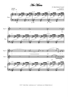 Ave Maria: Duet for soprano and tenor solo - high key by Johann Sebastian Bach, Charles Gounod