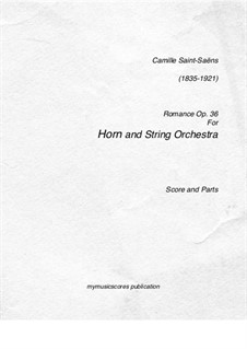 Romance for Horn (or Cello) and Orchestra, Op.36: partituras completas, partes by Camille Saint-Saëns