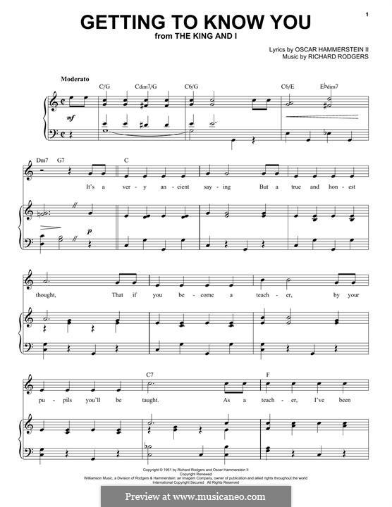 Getting to Know You (from The King and I): Para vocais e piano by Richard Rodgers