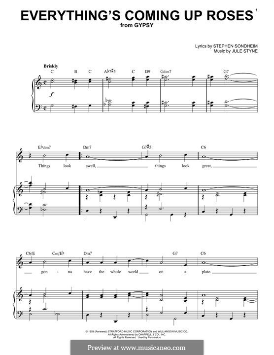 Everything's Coming Up Roses: Para vocais e piano by Jule Styne, Stephen Sondheim