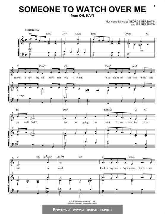 Someone To Watch Over Me (from Oh, Kay!): Para vocais e piano by George Gershwin