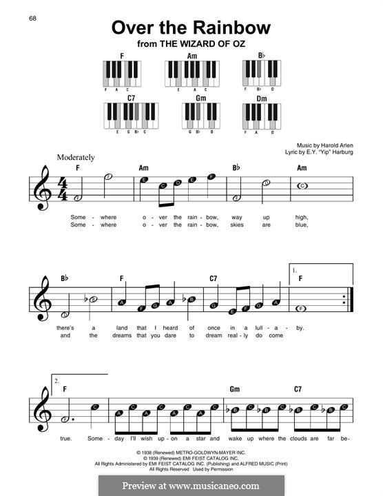 Over the Rainbow (from The Wizard of Oz): For any instrument by Harold Arlen