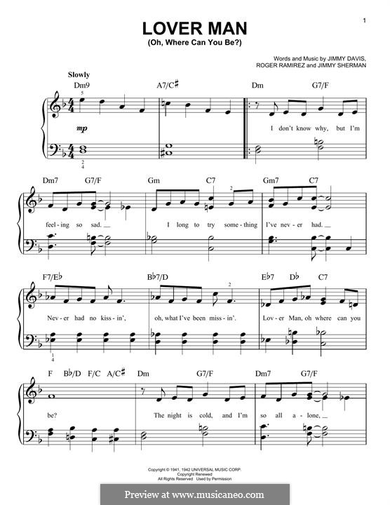 Lover Man (Oh, Where Can You Be?): Para Piano by Jimmie Davis, Jimmy Sherman, Roger Ramirez