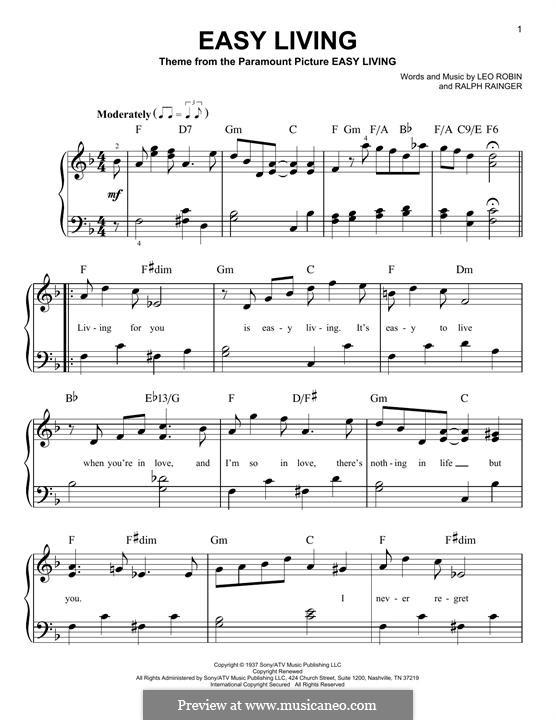 Easy Living (Billie Holiday): Para Piano by Leo Robin, Ralph Rainger