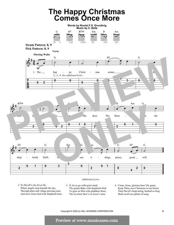 The Happy Christmas Comes Once More: Para guitarra com guia by C. Balle