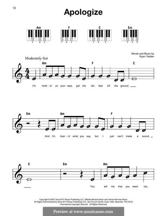 Apologize (OneRepublic): For any instrument by Ryan B Tedder