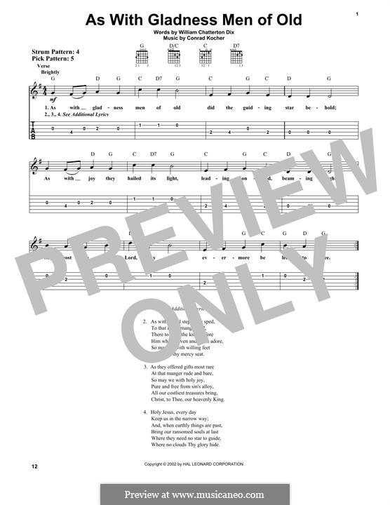 As with Gladness Men of Old: Para guitarra com guia by Conrad Kocher