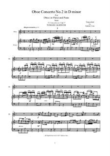 Concerto No.2 in d minor: For oboe (or flute) and piano by Tomaso Albinoni
