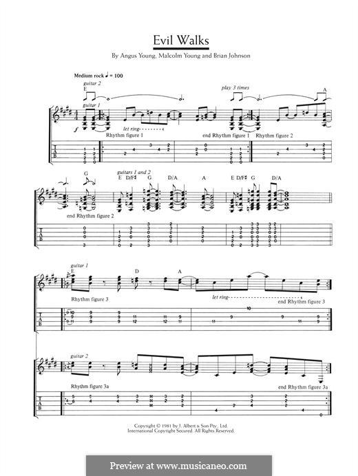 Evil Walks (AC/DC): Para guitarra com guia by Angus Young, Brian Johnson, Malcolm Young