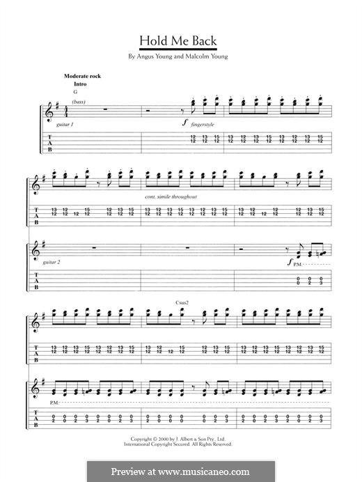 Hold Me Back (AC/DC): Para guitarra com guia by Angus Young, Malcolm Young