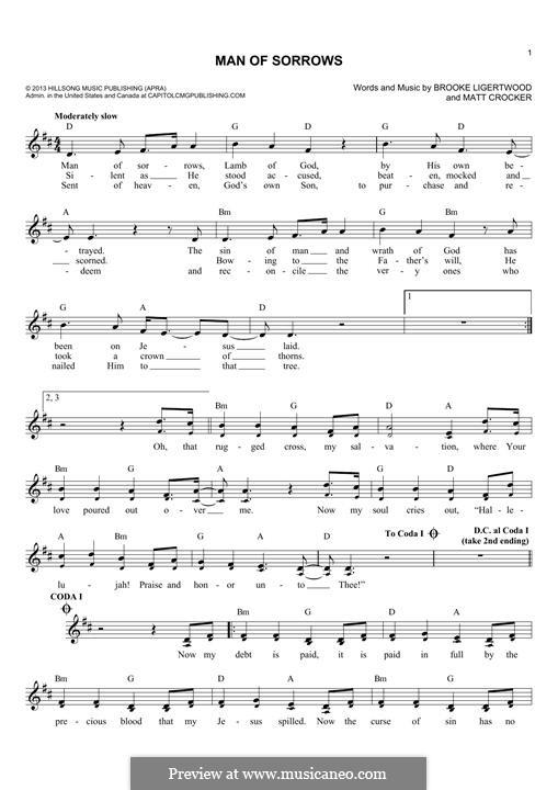 Man of Sorrows (Hillsong LIVE): melodia by Brooke Ligertwood, Matt Crocker