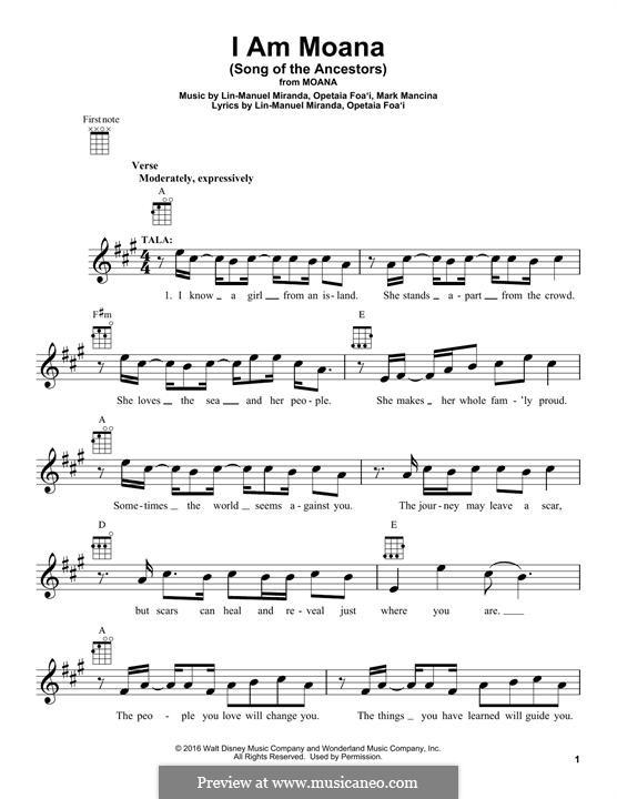 I am Moana (Song of the Ancestors): para ukulele by Lin-Manuel Miranda, Mark Mancina, Opetaia Foa'i