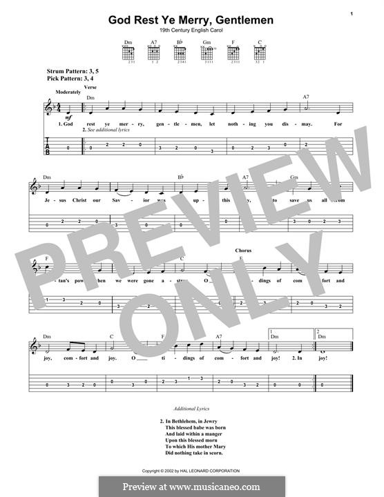 God Rest You Merry, Gentlemen (Printable Scores): Para guitarra com guia by folklore