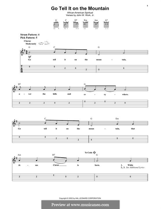 Go, Tell it on the Mountain (Printable Scores): Para guitarra com guia by folklore