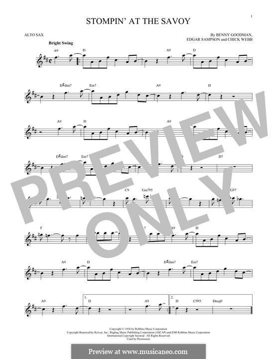 Stompin at the Savoy: para Saxofone Alto by Benny Goodman, Chick Webb, Edgar Sampson