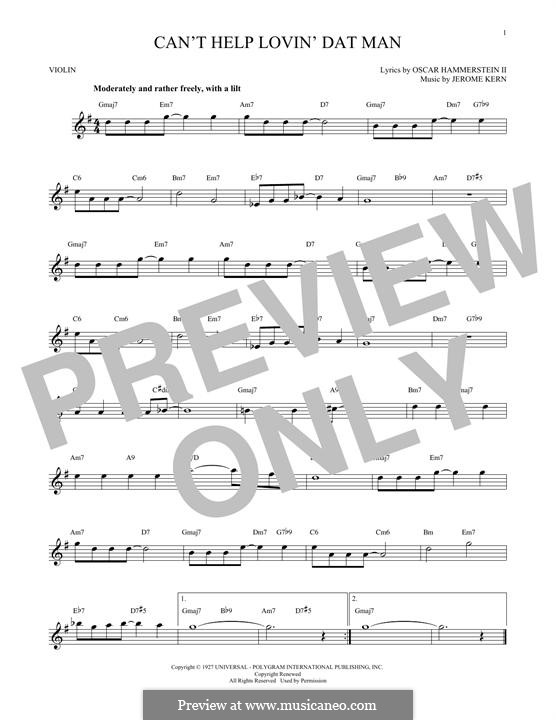 Can't Help Lovin' Dat Man (from Show Boat): para violino by Jerome Kern