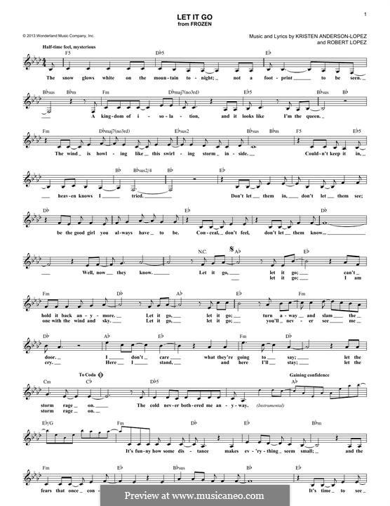 Let It Go (from Frozen): melodia by Robert Lopez, Kristen Anderson-Lopez