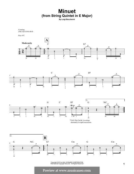 String Quintet No.5 in E Major, G.275 Op.107: Minuet, for banjo by Luigi Boccherini
