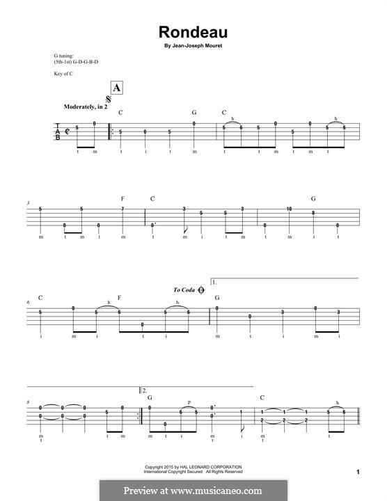 Fanfare Rondeau: For banjo by Jean-Joseph Mouret