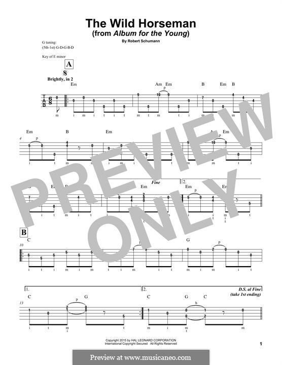 No.8 Wilder Reiter (The Wild Horseman): For banjo by Robert Schumann