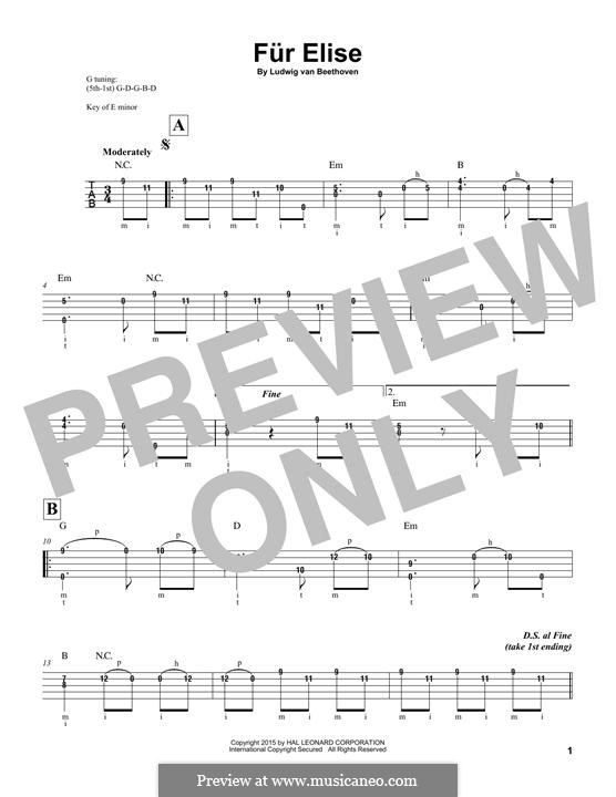 For Elise (Printable Scores): For banjo by Ludwig van Beethoven