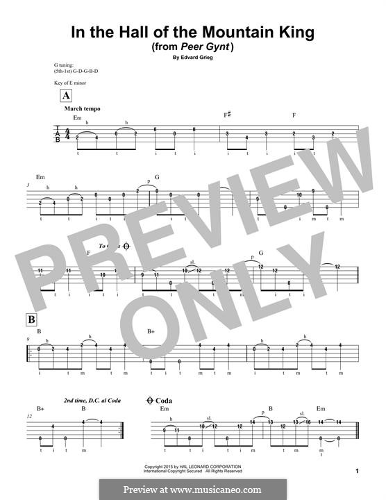 Suite No.1. In the Hall of the Mountain King (Printable Scores), Op.46 No.4: For banjo by Edvard Grieg