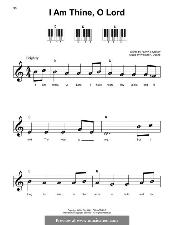 I am Thine, O Lord: For any instrument by William Howard Doane
