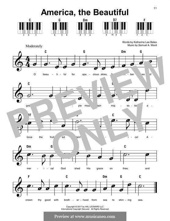 America the Beautiful: For any instrument by Samuel Augustus Ward