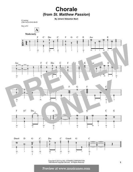 Part I: Choral, for banjo by Johann Sebastian Bach