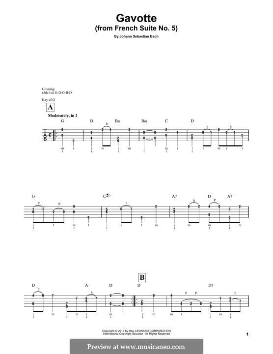 Suite for Cello No.5 in C Minor, BWV 1011: Gavotte I. Version for banjo by Johann Sebastian Bach