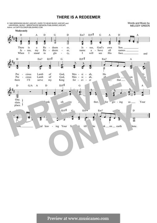 There Is a Redeemer: melodia by Keith Green, Melody Green