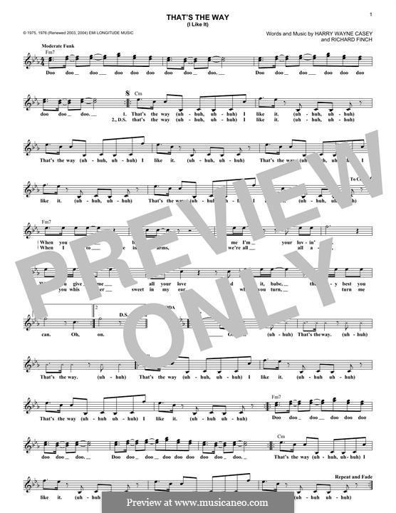 That's the Way (I Like It): melodia by Harry Wayne Casey, Richard Finch