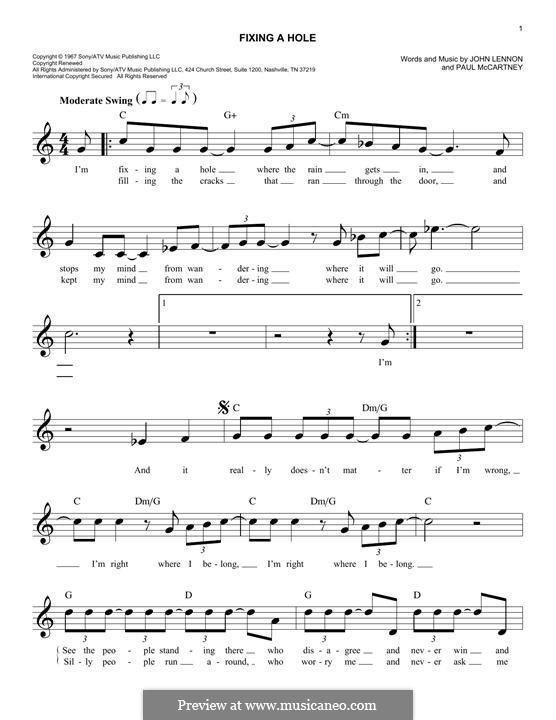 Fixing a Hole (The Beatles): melodia by John Lennon, Paul McCartney