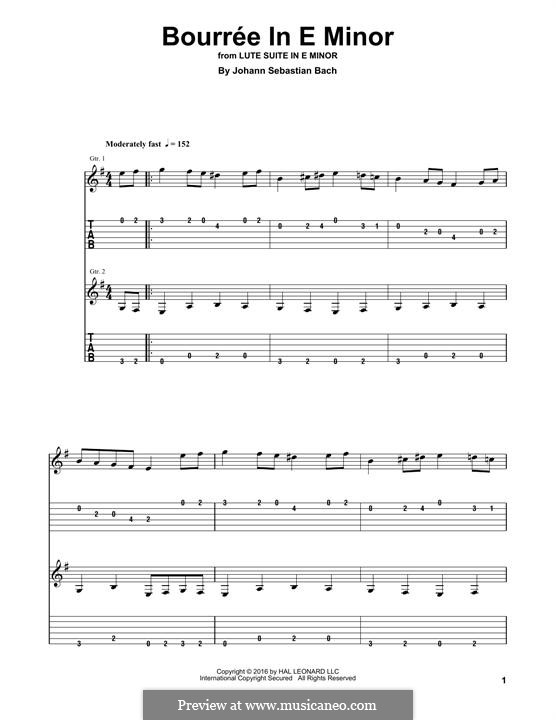 Suite for Lute (or Harpsichord) in E Minor, BWV 996: Bourrée. Version for guitar by Johann Sebastian Bach