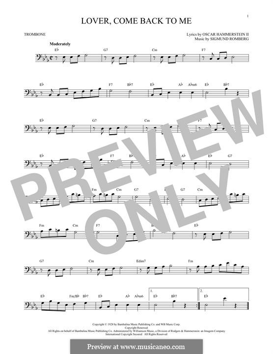 Lover, Come Back to Me (from New Moon): para trombone by Sigmund Romberg
