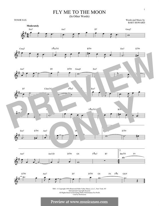 Fly Me to the Moon (In Other Words): para saxofone tenor by Bart Howard