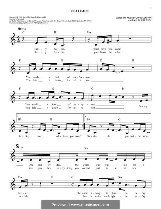 Sexy Sadie (The Beatles): melodia by John Lennon, Paul McCartney