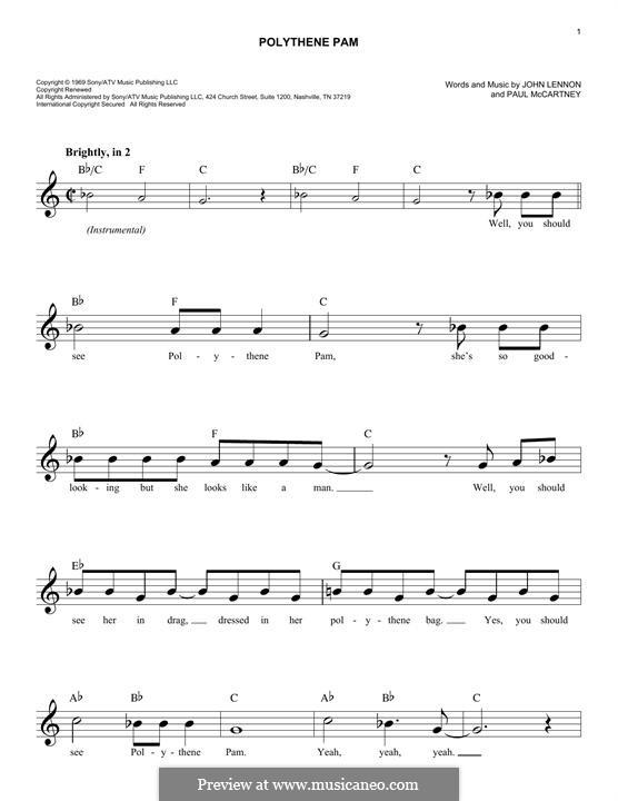 Polythene Pam (The Beatles): melodia by John Lennon, Paul McCartney