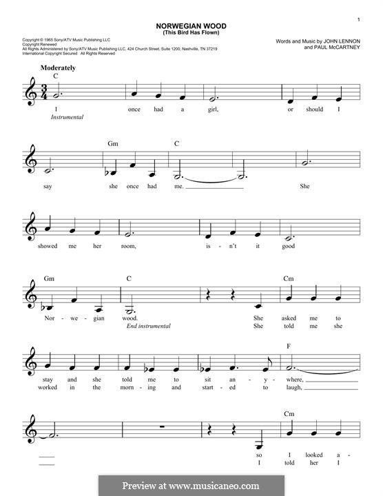 Norwegian Wood (This Bird Has Flown): melodia by John Lennon, Paul McCartney